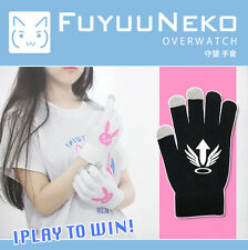 Overwatch Mercy Black Gloves OW Cute Plush Touch Screen Gloves Gift