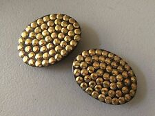 2 OVAL HORN LADIES'BELT BUCKLES WITH BRASS HAMMERED STUDS : NEW
