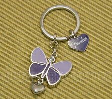 910-0276-000 Fender Guitar Logo Purple Butterfly Keychain with Bling Heart