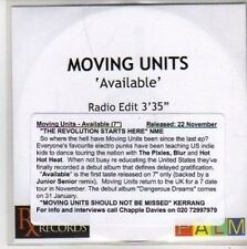 (BB319) Moving Units, Available - DJ CD