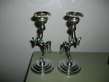 Art Deco Pair Of Chrome Plated Nude Lady Candlesticks.