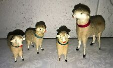 4 Vintage Germany Putz Wooly Sheep w Stick Legs Composition Hand Painted Heads