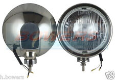 "PAIR OF MAXTEL 12V/24V 8 1/4"" STAINLESS STEEL ROUND SPOT/BAR LAMPS/LIGHTS TRUCK"