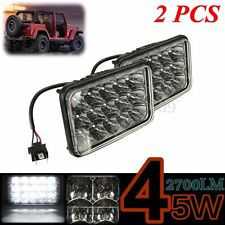 "Pair 4""x6"" 15 LED 45W Bulb Crystal Clear Sealed Beam HeadLight Headlamp 12/24V"