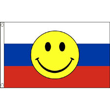 Russia Smiley Face Flag 5Ft X 3Ft Ussr Russian Eurovision Banner New