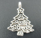 20 ANTIQUE SILVER CHRISTMAS TREE CHARM/PENDANT 24mm x 17mm EMBELLISHMENTS (X63)