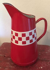 Vintage French Enameled Large Pitcher  ~ Red and White Lustucru Check Pattern