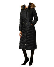 NWT MICHAEL Kors women's Faux Fur Trim Long Maxi Puffer Coat Black (XS)