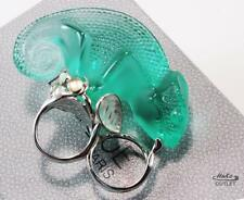 LALIQUE GREEN CRYSTAL CHAMELEON CAMELEON 925 SS MOUNTING RING, US-8/T56/UK-Q