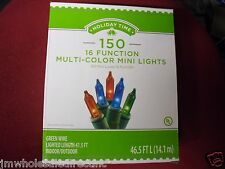 New 150 Multi-Color 16 Function Mini Christmas Lights Green Wire 46.5FT UL liste