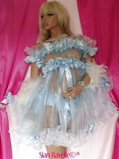 Sian Ravelle Sexy Sheer Organza Baby Blue Satin Adult Doll Sissy Maid Slip Dress