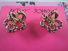 Betsey Johnson gold tone~pink crystal flower stud earrings, NWT