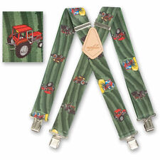"Brimarc Mens Braces Heavy Duty Suspender 2"" 50mm Wide Green Tractor Field Braces"