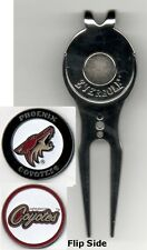 """Phoenix Coyotes 1"""" Golf Ball Marker 2 sided with Divot Tool w /Clip NHL"""