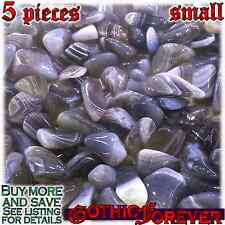 5 Small 10mm Free Ship Tumbled Gem Stone Crystal Natural - Agate Banded Gray