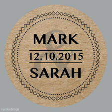 35x Personalised Wedding Shabby Brown Kraft Effect Favour Labels Stickers -337