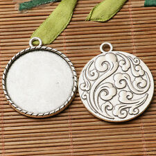 3pcs dark silver color  waves pattern  round cabochon setting in 30mm EF3177