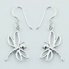 Silver earrings hook drop 925 sterling silver dragonfly dangle 34mm height  new