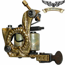 Custom Carved Brass Earthworm Tattoo Machine with Free 9 Mag Combo Needle 10pk