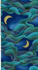 Nobu Fujiyama Dragon Moon Indigo Blue Teal Waves Kona Bay Asian Fabric Yard