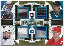 Roy Selanne Jagr Lidstrom 2013-14 ITG Used Quad 2003 All-Star JERSEY Gold *S211