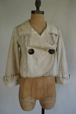 Burlapp NWT $159 new beige big buttons long sleeve cropped jacket women small S