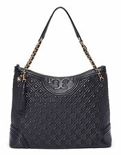 New  Authentic Tory Burch Quilted Leather Fleming Tote  Bag Black w/tag