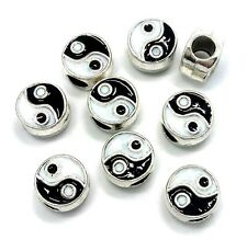 Yin Yang Enamel Silver Plated Spacer Charm Beads For European Charm Bracelets