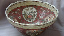ANTIQUE CHINESE EXTRA LARGE POLYCHROME PAINTED CERAMIC 4 MEDALLIONS BOWL,MARKED