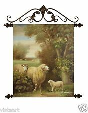 """Oil Painting On Canvas Tapestry W/Metal Rods 20""""x24""""- Sheep"""
