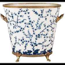 NEW PORCELAIN AND BRONZE BLUE AND WHITE FILIGREE planter