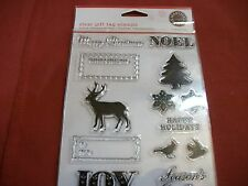 NEW UNOPENED MARTHA STEWART CLEAR GIFT TAG ACRYLIC STAMPS 12 STAMPS CRAFTS