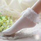 Princess Girl Candy Color Women Ladies Vintage Lace Ruffle Frilly Ankle Socks