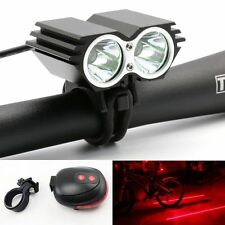 5000LM CREE XML T6 LED Bicycle Bike headlamp light w/ Battery +Laser Rear Light