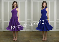 New One-Shoulder Tea Length Formal Evening Gown Bridesmaid Dresses Size 6-16