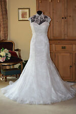 Justin Alexander Wedding Dress/Coverlet 8641 Brand New Size 12 Alabaster/Silver