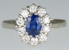 18ct White Gold Sapphire & Diamond Cluster Vintage Daisy Ring Superb Condition
