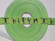 "GREEN GYMNASTICS RIBBON-7/8"" X1 YARD-LANYARDS, BOWS, SPORTS, GYMNAST-GROSGRAIN"