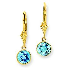14K Yellow Gold Round Bezel Blue Topaz Dangle Leverback Earrings