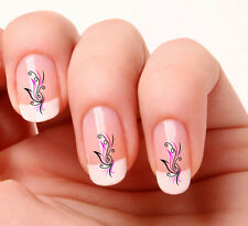 20x adesivi per decorazione unghie nr 140 con vortice nero & rosa