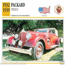 PACKARD TWELVE 1932 1939  CAR VOITURE USA ETATS-UNIS CARTE CARD FICHE