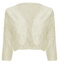 WOMENS LADIES 3/4 SLEEVE LACE SHRUG CARDIGAN BOLERO TOP PLUS SIZES 16-22