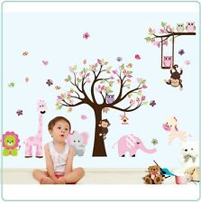 Owl Animal Wall Stickers Zoo Jungle Tree Nursery Baby Bedroom Mural Decals Decor