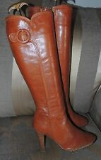 NEXT - WIDE FIT - STUNNING TAN LEATHER SHAPED TOP WITH BUCKLE TRIM BOOTS - SZ 5