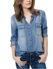 NWT Womens DAVID BITTON BUFFALO Medium Wash Long Sleeve Denim Shirt, Sz XS