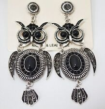 Antique crystal rhinestone owl drop fashion earrings with free shipping