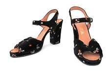 VGC Vtg 40s Rockabilly Black Velvet Flowers Peep Toe Slingback Platform Shoes 6