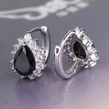 Black crystal Onyx 18ct White Gold filled Hoop earrings Pear Leverback