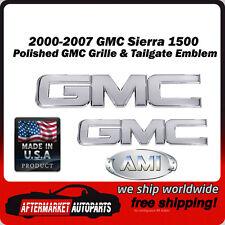 00-07 GMC Sierra 1500 Polished Billet GMC Grille & Tailgate Emblem AMI 96510P