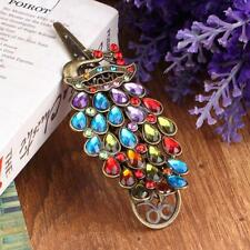 Vintage Womens Colorful Rhinestone Peacock Barrette Hairpin Hair Clip New IT